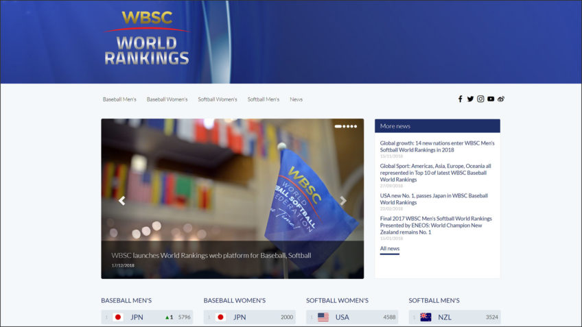 WBSC launches World Rankings web platform for Baseball and Softball